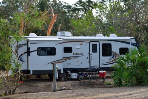 travel trailer in a campground