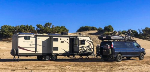 Travel trailer boondocking in the wild with steps pulled out
