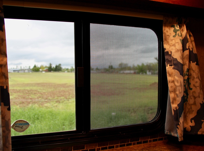 RV window with pet screen installed