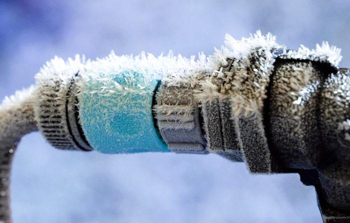 frozen water hydrant spigot