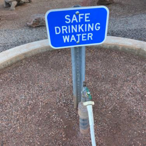 Safe drinking water sign at RV dump station