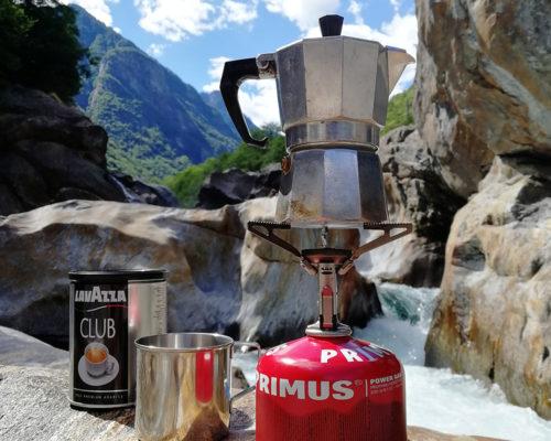Moka non-electric coffee maker on a small gas camp burner