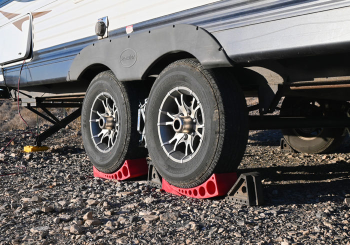 Anderson levelers RV leveling blocks on a tandem axel travel trailer