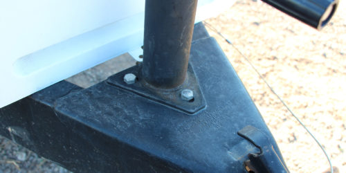 The tongue jack on the front of a travel trailer