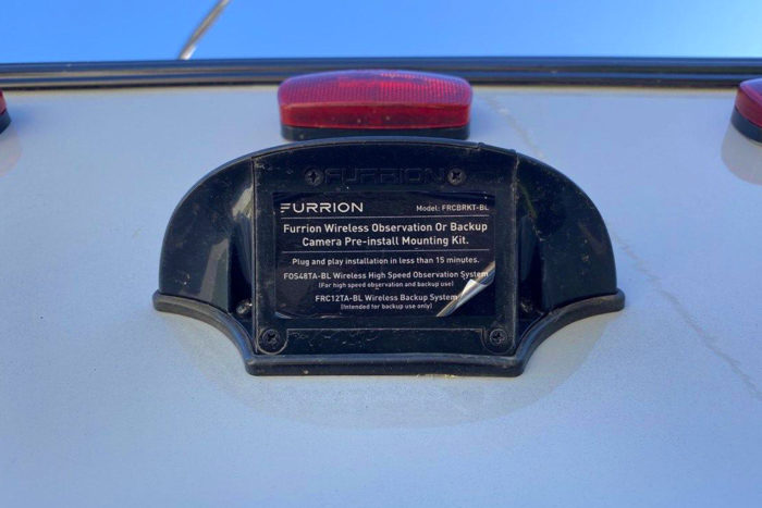 Furrion RV backup camera name plate on a pre-wired RV