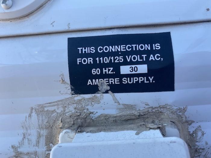 sticker above 30 amp plug on my travel trailer