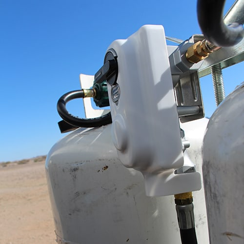 RV propane regulator on a dual propane tanks on travel trailer
