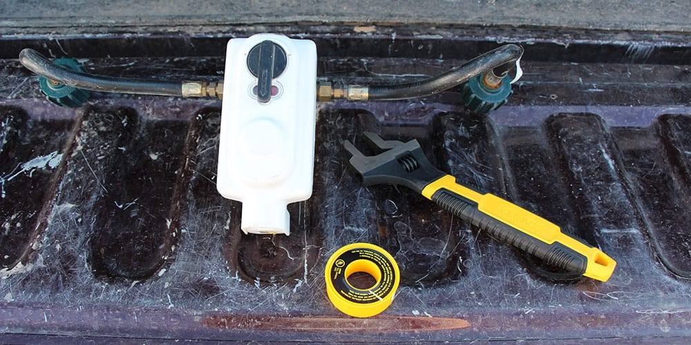 Tools required to change a dual RV propane regulator