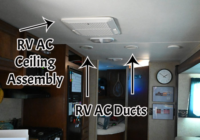 ducts and ceiling assembly on a 13500 btu rv air conditioner