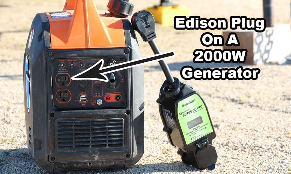 An RV surge protector next to a generator without an open ground plug