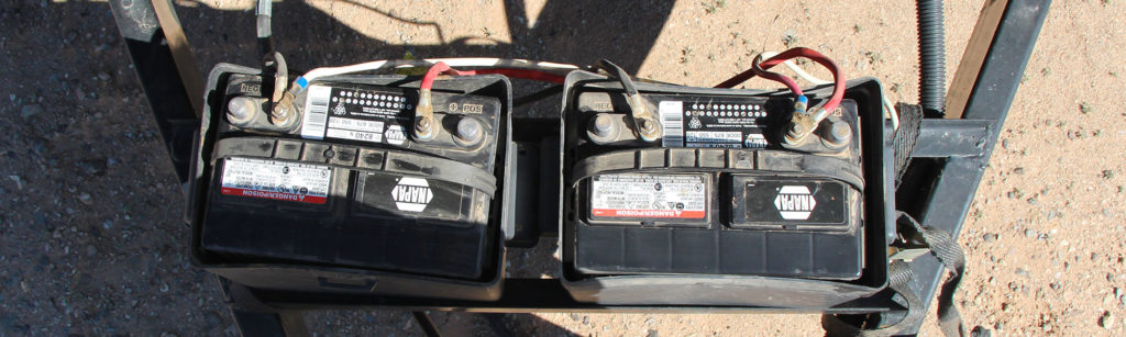 Deep cycle RV batteries being equalized by a battery charger