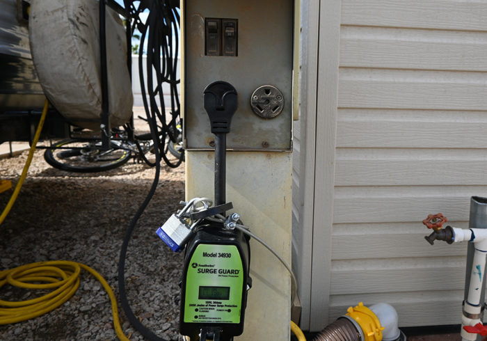 RV surge protector plugged into a 30 amp outlet