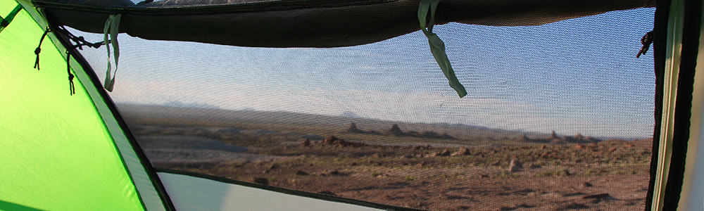 Inner door with mesh opening on the Colman 2 person pop-up tent.
