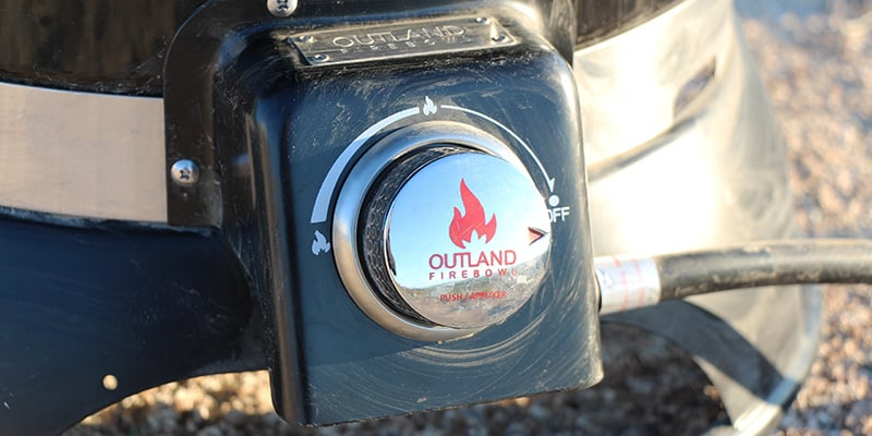Valve to adjust flame strength on the Outland Firebowl portable propane fire pit
