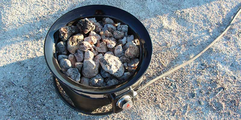 Lava rocks in my Outlander Firebowl propane fire pit after 6 months of use