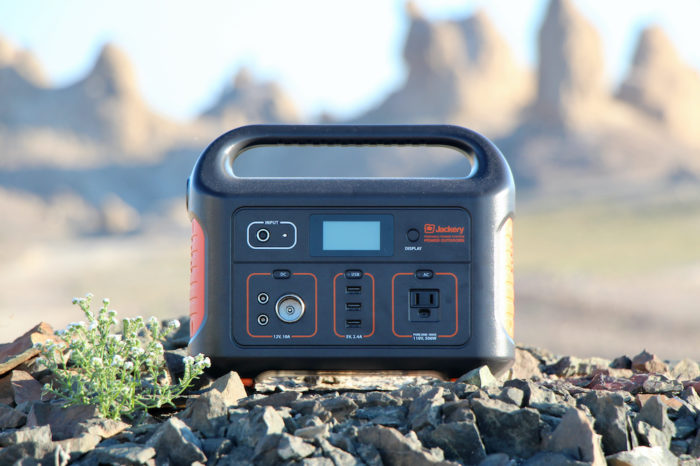 Jackery Explorer 500 sitting on rocks by the Trona Pinnacles