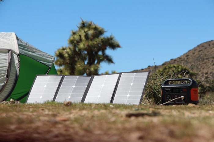 Portable solar panel charging the Jackery Explorer 500 power station
