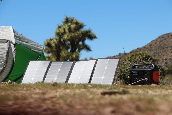 Portable solar panel charging the Jackery Explorer 500 power station