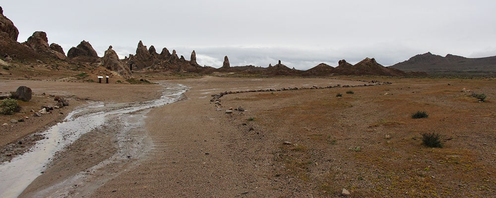 Large parking area you can camp in with a large RV or trailer at the Trona Pinnacles.