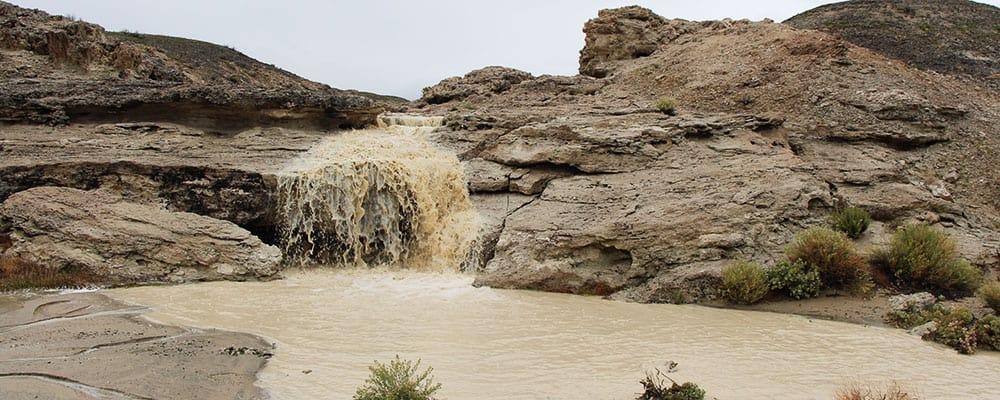 Small waterfall at the Trona Pinnacles.
