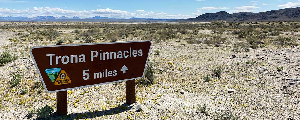 Trona Pinnacles north entrance 5 miles sign.