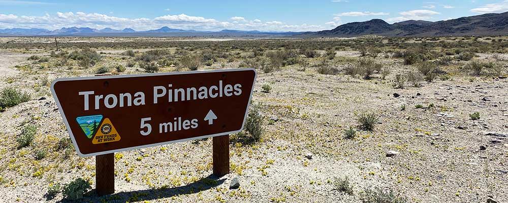 Trona Pinnacles north entrance 5 miles sign.
