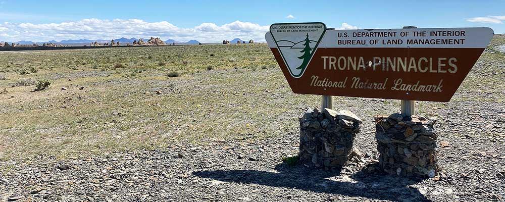 Trona Pinnacles BLM sign.