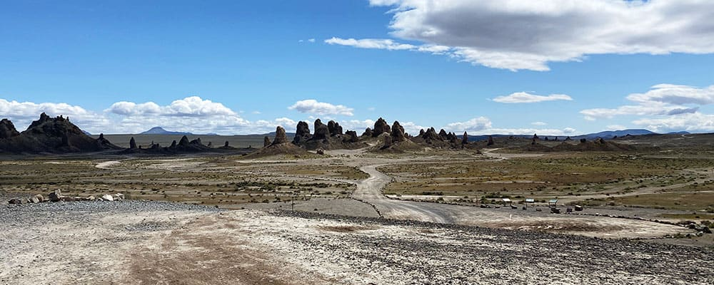 View of the Trona Pinnacles from the popular north enterance road.