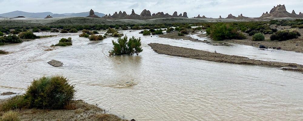 River in wash at the Trona Pinnacles.