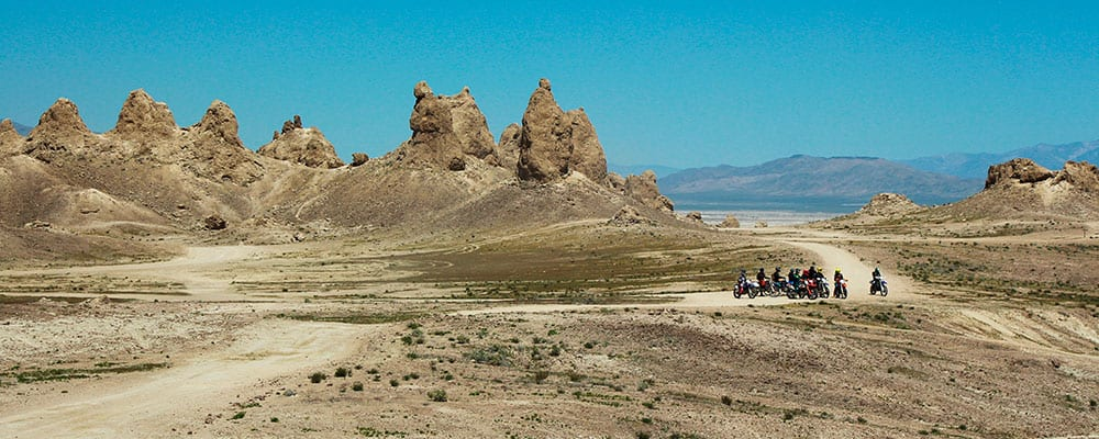 Group of weekend dirt bikers at the Trona Pinnacles.