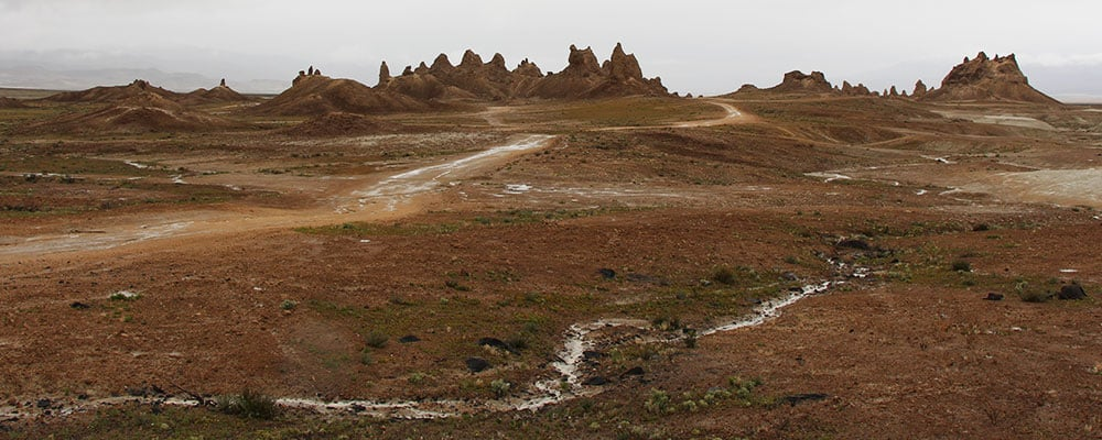 View from our trailer after a day of rain at the Trona Pinnacles.