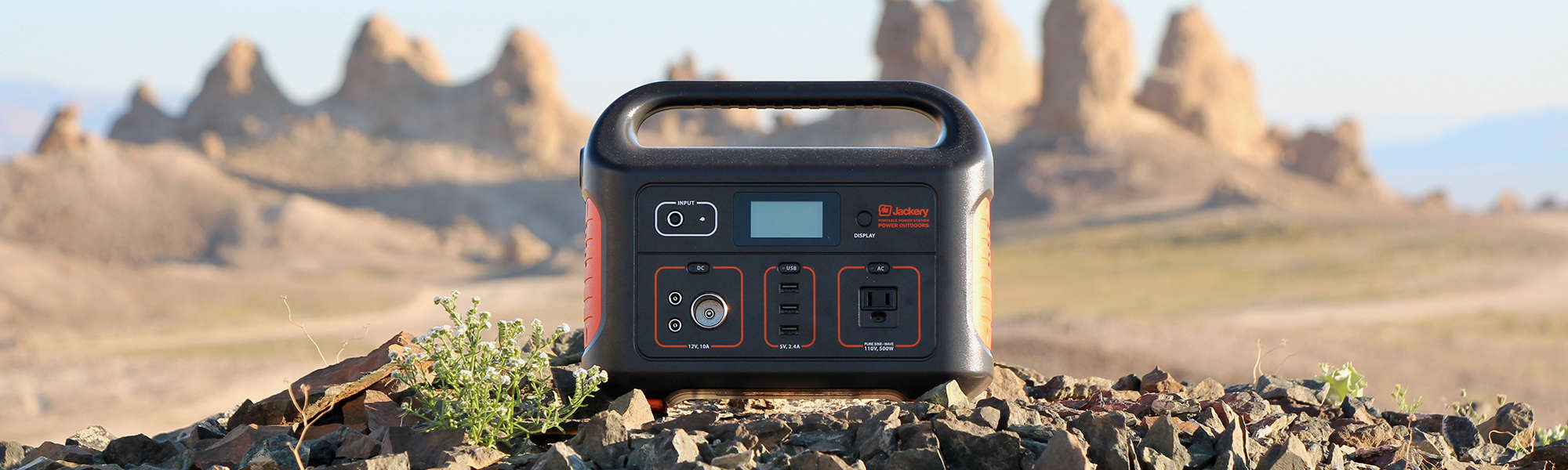 Jackery Explorer 500 sitting on rocks by the Trona Pinnacles in California