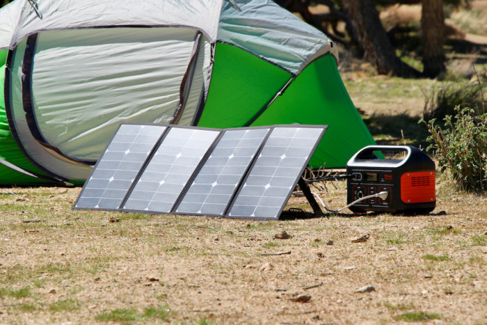 Rockpals solar panel charging the Jackery Explorer 500 power station