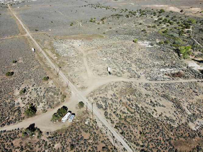Drone shot of our campsite (center) at Dayton-Virginia City BLM.