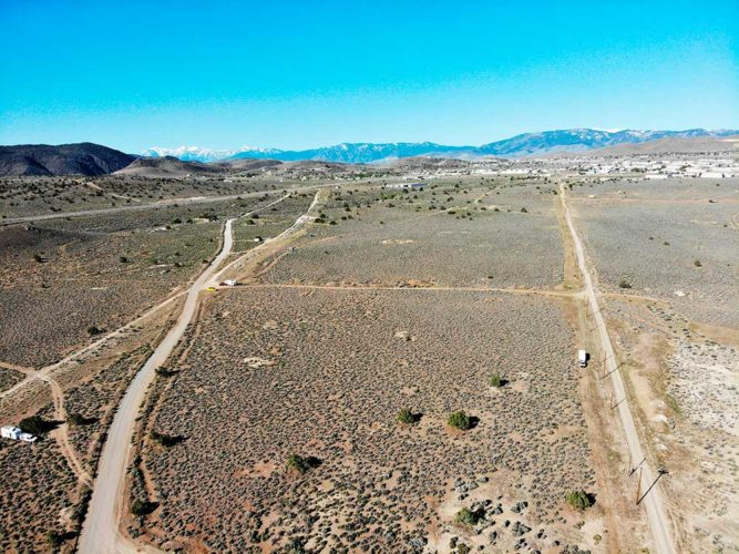 Drone shot of some of the campsites at Dayton-Virginia City BLM with Mound House in the distance.