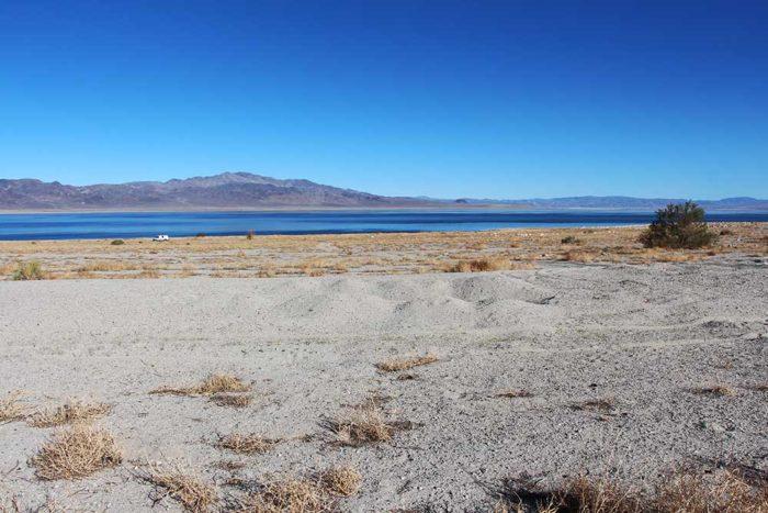 Piles of sand from vehicles getting stuck at Twenty Mile Beach, Walker Lake Nevada.