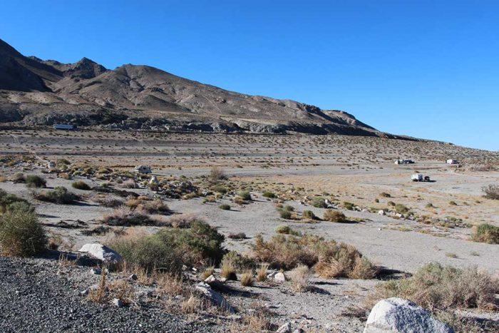 Semi on the Veterans Memorial Highway above Twenty Mile Beach, Walker Lake Nevada.