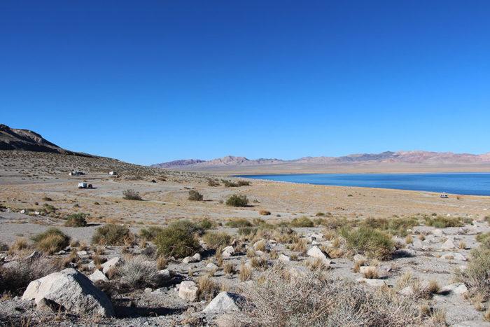 Main camping area at Twenty Mile Beach by Walker Lake Nevada.