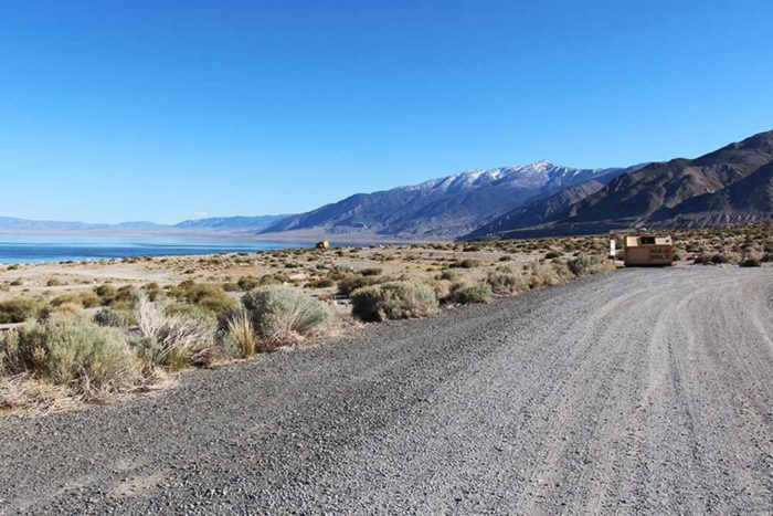 Dumpster and camping area to the right of Twenty Mile Beach, Walker Lake Nevada.