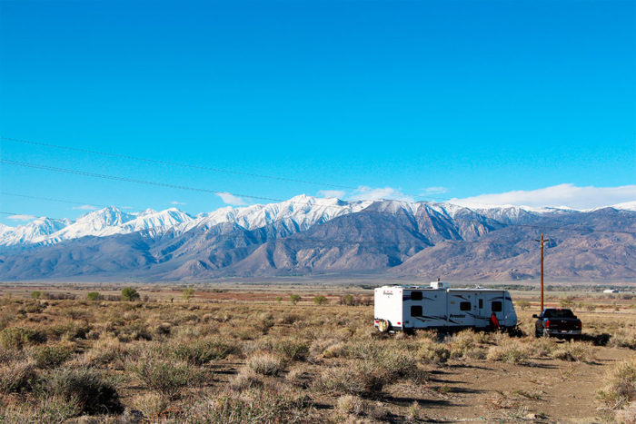 View of mountains to the south from Silver Canyon BLM near Bishop, CA.