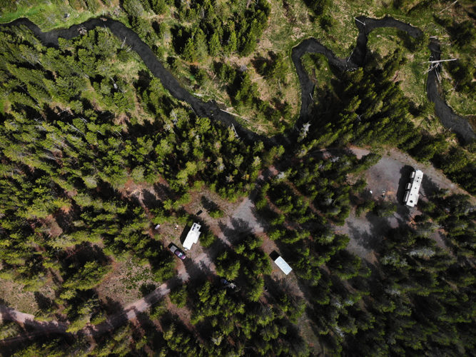 Drone shot of our free campsite at Fish Creek Road near Yellowstone.