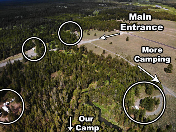 This pic shows the many hidden campsites at Fish Creek Road.