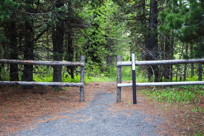 Start of the short trail that leads to the Henrys Fork River in Idaho where you can swim, float, or fish.