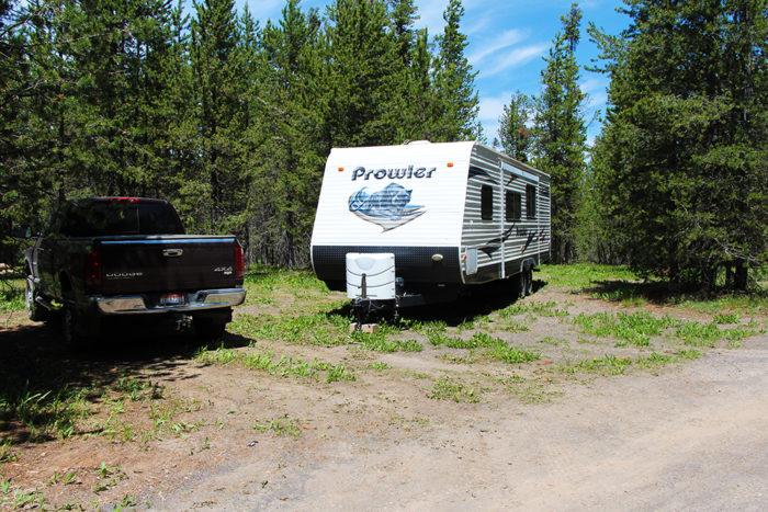 Our tiny campsite at Fish Creek Road Idaho near Yellowstone National Park.