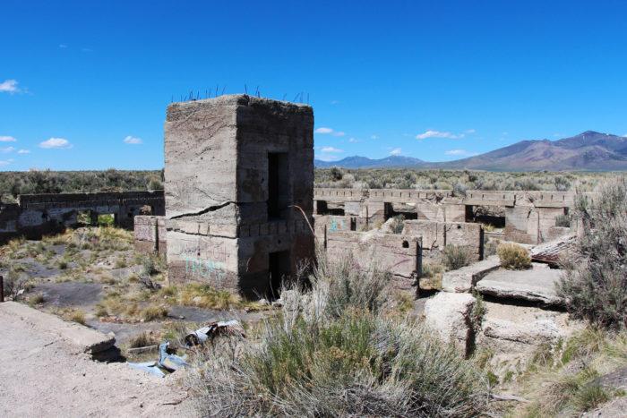 Remnants of Hotel Metropolis at the Metropolis Ghost Town in Nevada.