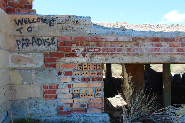 Bricks near the entryway at the school in the Metropolis Ghost Town Nevada.