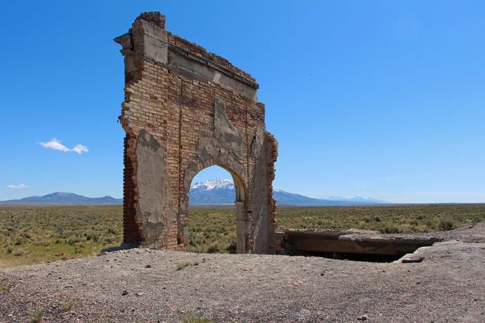 Greys Peak to the south through the Metropolis Ghost Town Schoolhouse entry in Nevada.