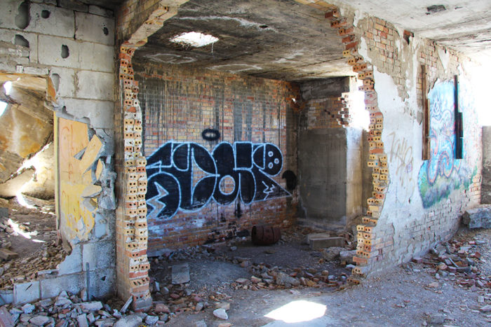 Graffiti in the basement of the Lincoln School in the Metropolis Ghost Town.