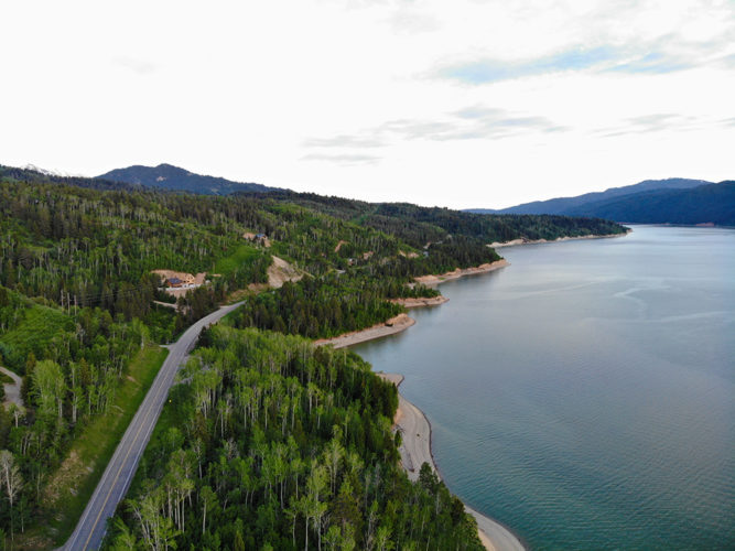 Drone shot of the Palisades Reservoir in Idaho near the boat ramp on the east side.