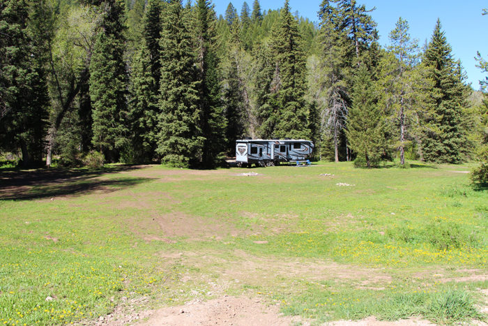 Huge campsite on Forest Road 281 in Idaho.